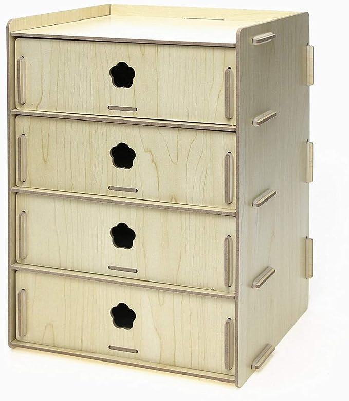 Tmpty Piccola Cassettiera da Scrivania Legno,4 Cassetti,Multifunzionale Ordinata Organizer,31/×23/×18 cm