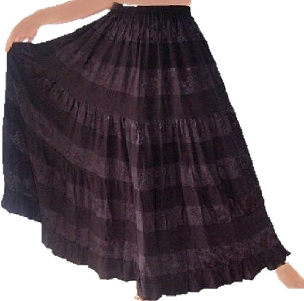 LOTUSTRADERS Maxi Skirt Tiered Elastic Waist A603