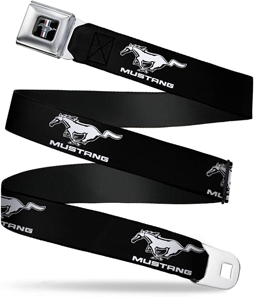 20-36 Inches in Length Ford Mustang Black//White Logo REPEAT 1.0 Wide Buckle-Down Seatbelt Belt