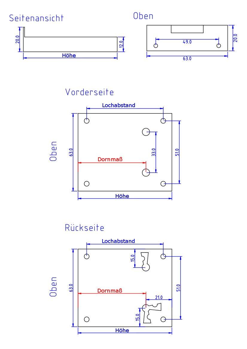 Dornma/ß 80mm Antikas Kastenschloss M/öbelschloss Schublade Schrankschloss HxB 102x63