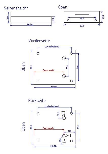 Kastenschloss M/öbelschloss Schublade Schrankschloss Dornma/ß 50 mm HxB 72x63 Antikas