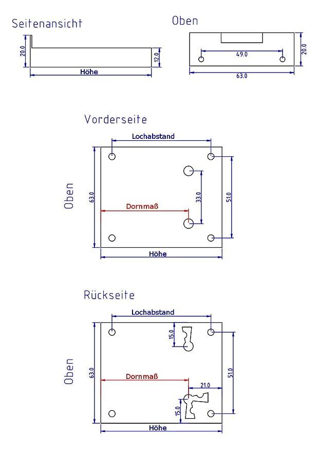 Kastenschloss HxB 67x63 Dornma/ß 45mm f/ür M/öbe Schublade Schrank Antikas