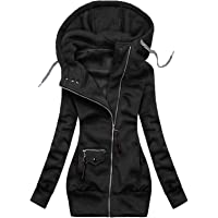 Women's Turtleneck Hooded Fashion Solid Jacket Zipper Pocket Sweatshirt Long Sleeve Coats Plus Size S-3X