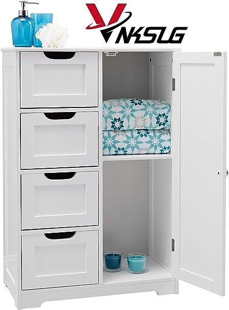 adapt/é pour salle de bain avec 4 tiroirs et 1 /étag/ère Armoire de toilette blanche 1 placard chambre /à coucher salon etc.