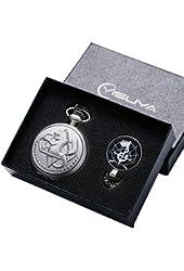 YISUYA Silver Fullmetal Alchemist Pocket Watch with Chain Cosplay Edward Necklace Gift Box Anime Boys