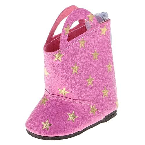 MagiDeal Poupée Chaussures Bottes étoilées pour 14 pouces Fille Américaine Wellie Wisher Dolls Accessoire - Rose rouge