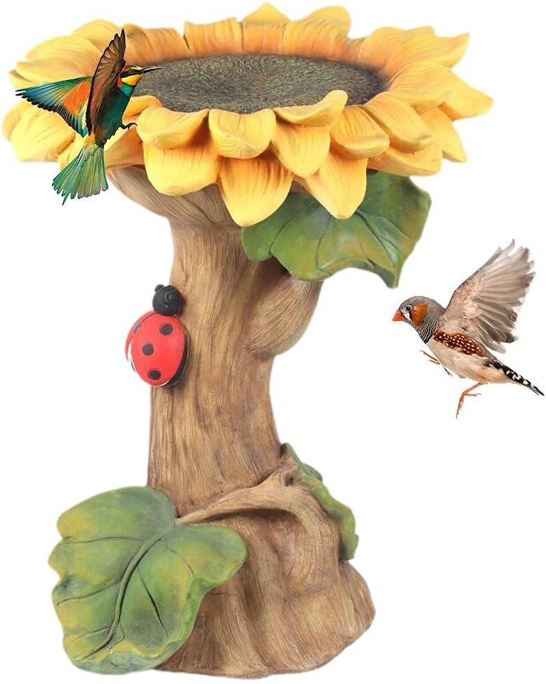 Sunflower Bird Bath Feeders for Outdoors, Resin Standing Sunflower Bird Feeder Stakes for Outdoor, Garden, Lawn Yard Decorations