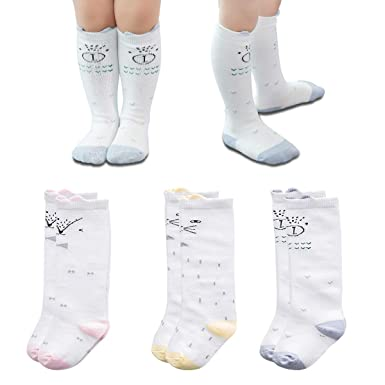 70e9ccd63e3 Dicry 3 Pairs Newborn Baby White Knee High Socks 0-6 Months Cartoon Animal