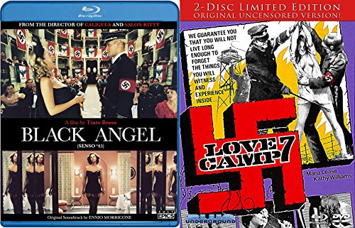 Nazisploitation Double Feature - Love Camp 7 (2-Disc Limited Edition) & Tinto Brass' Black Angel 2-Blu-ray Bundle (Pillow Bella Boudoir)