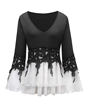 1bc3e4676e2 Plus Size Tops for Women Blouses Tshirt Shirt Bell Long Sleeve 2X 3X 4X 5X (