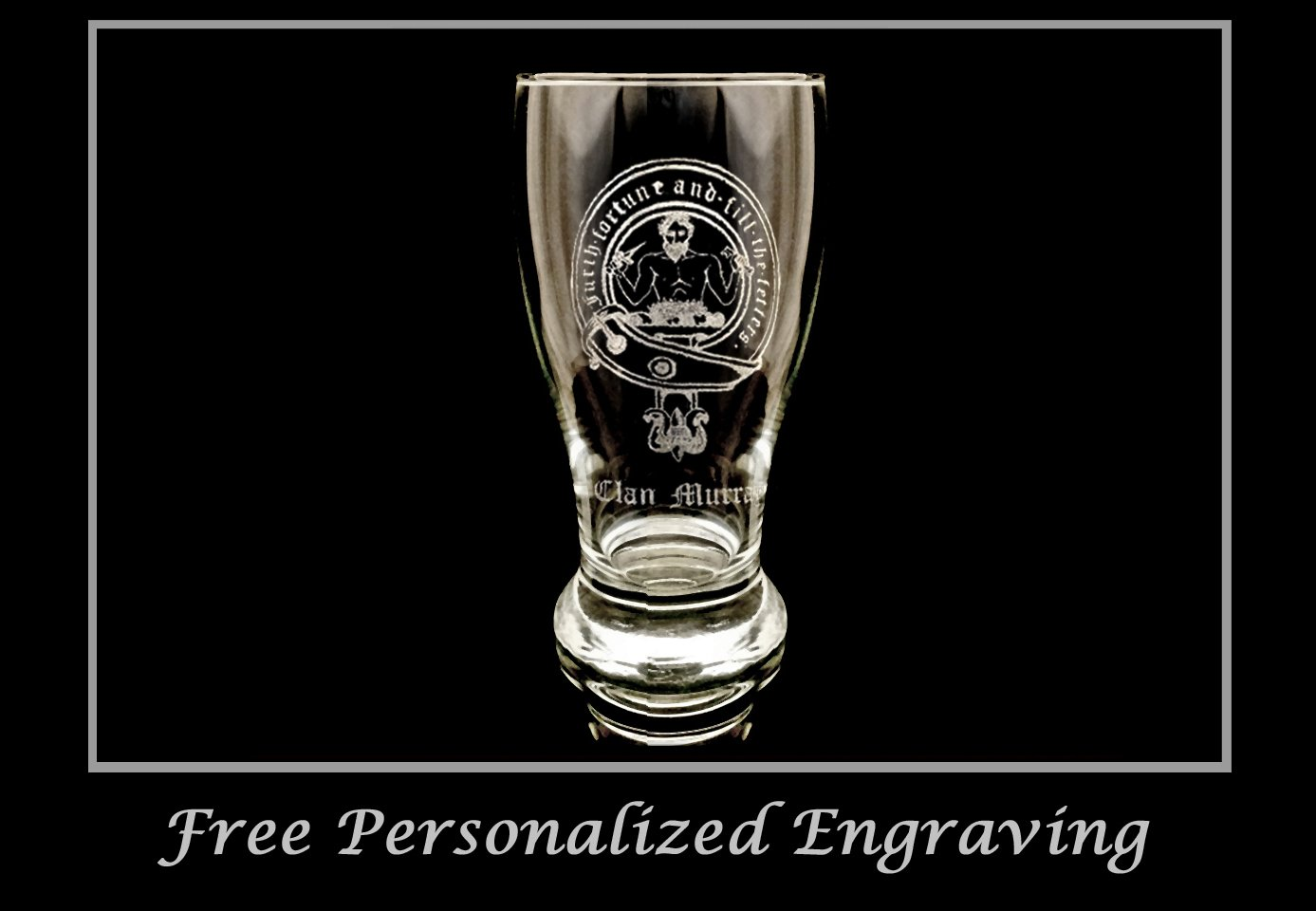Clan Murray Scottish Crest Pint Glass Set of 4 - Free Personalized Engraving, Family Crest, Pub Glass, Beer Glass, Custom Beer Glass by LyonCraft (Image #2)