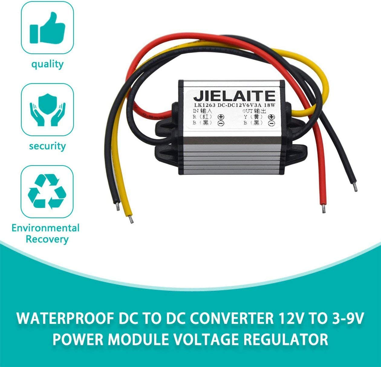 BIYI Waterproof DC to DC Converter 12V to 3-9V 2A 3A Auto Car Power Module Supply Copper Cord Step-Down Voltage Regulator silver /& black