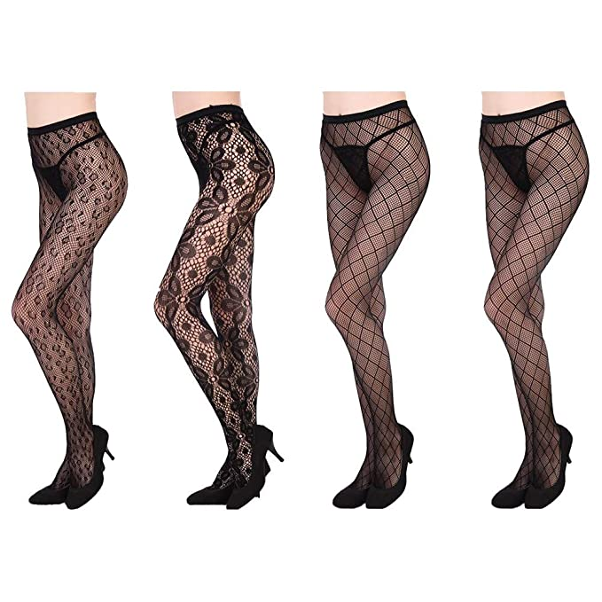 f460e0098f3d1d Amazon.com: Magik 4 Packs Women Fishnet Stocking Cross Seamless Nylon Mesh  Tights Pantyhose (Assorted Fishnet Stockings): Clothing