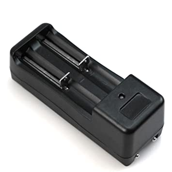Cargador de bateria - TOOGOO(R)Doble cargador de bateria universal para 2 Bateria Pila Litio 18650 16340 recargable 3.7V Li-ion Negro