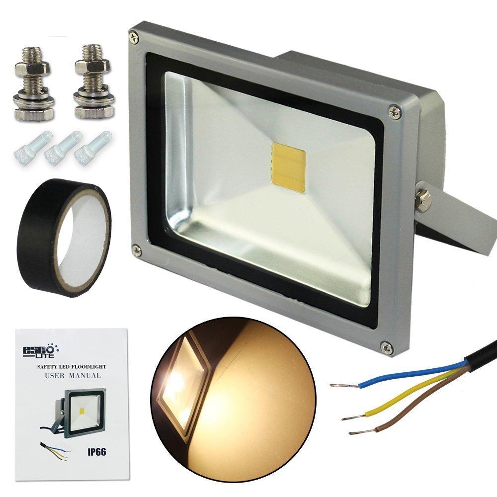 Led Flood Light Escolite 20w Outdoor With Floodlight Wiring Diagram Us Plug For Garden Yard Warehousewarm White Home Improvement