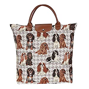 Signare Dog Print Tan Re-usable Tapestry Fold-able Shopping Bag in Cavalier King Charles Spaniel (FDAW-KGCS) 3