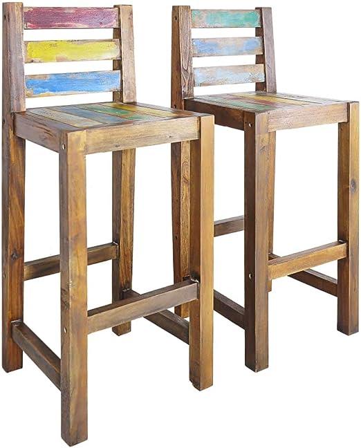 vidaXL 2X Taburetes Madera Reciclada 40x40x106 cm Bancos Sillas Asiento Mueble