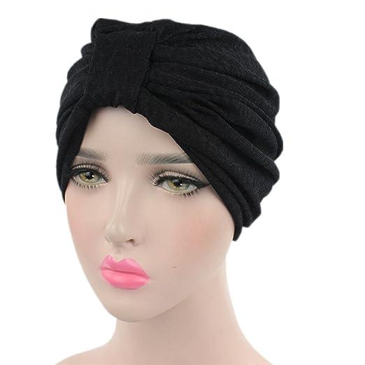 beauty YFJH Women s Stretchable Ruffle Beanie Scarf Head Hat Cap Ethnic  Cotton Printed Twist Pleated Turban 1bbc816eeb4