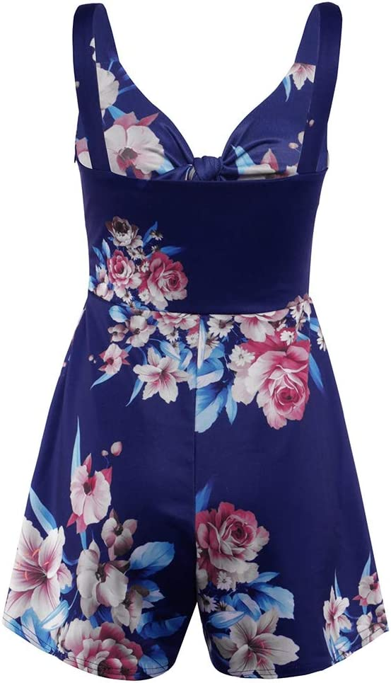 KOERIM Womens Short Sleeve Jumpsuit,Wrap Jumpsuits,Short Sleeve V Neck Leaf Print High Waist Tie Knot Jumpsuit Romper