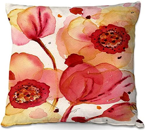 Dia Noche Designs, Outdoor Patio Couch Throw Pillow, 16 x 16 , ODP-DawnDermanPoppies1