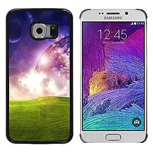 Be Good Phone Accessory // Dura Cáscara cubierta Protectora Caso Carcasa Funda de Protección para Samsung Galaxy S6 EDGE SM-G925 // Universe Space Alien Planet Art Green Grass