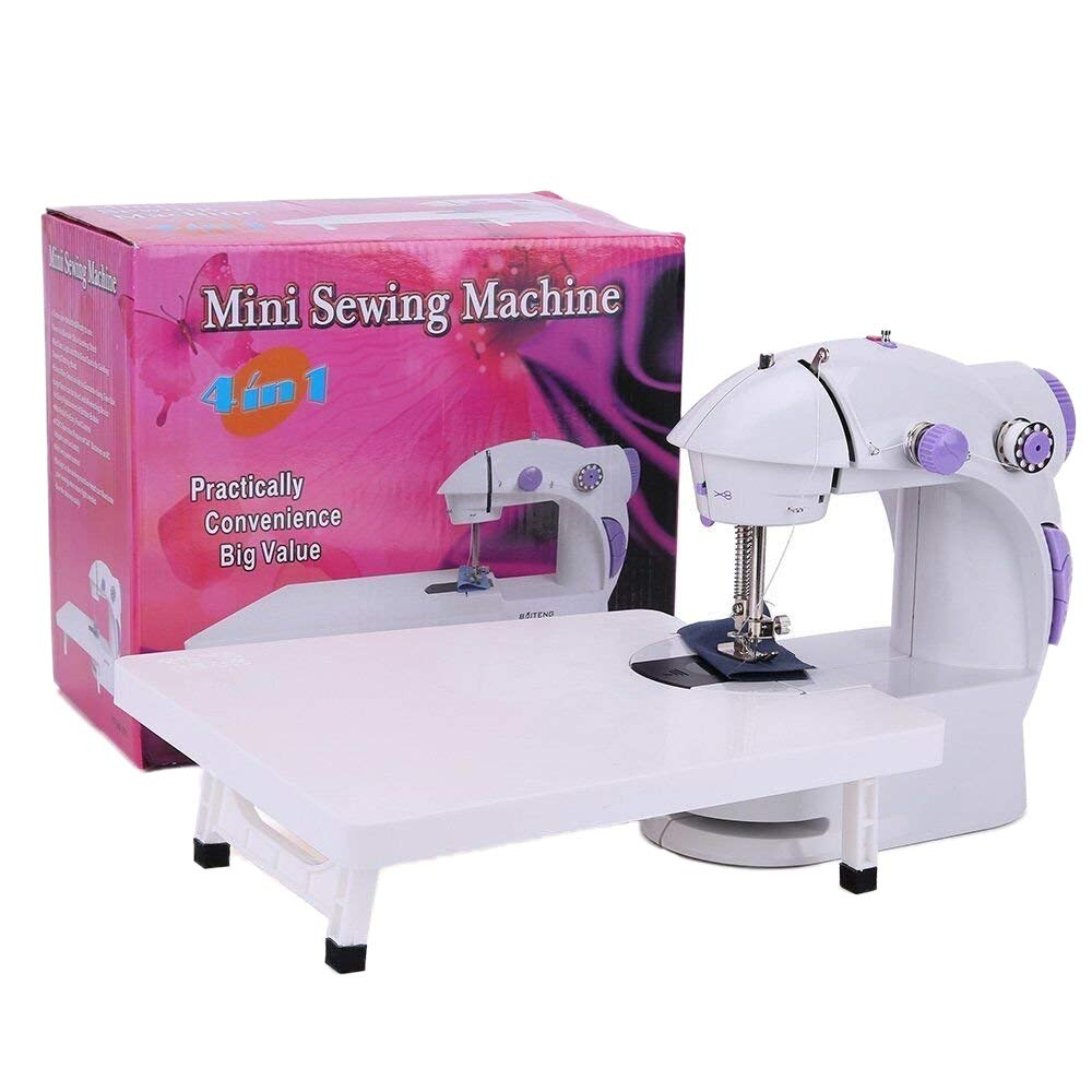 Sewing Machine, Electric Household Sewing Machine with Extension Table Mini Portable 2-Speed Beginner's Sewing Machine + Light + 4 Bobbins Needle & Threader + Foot Pedal (Purple) BAITENG