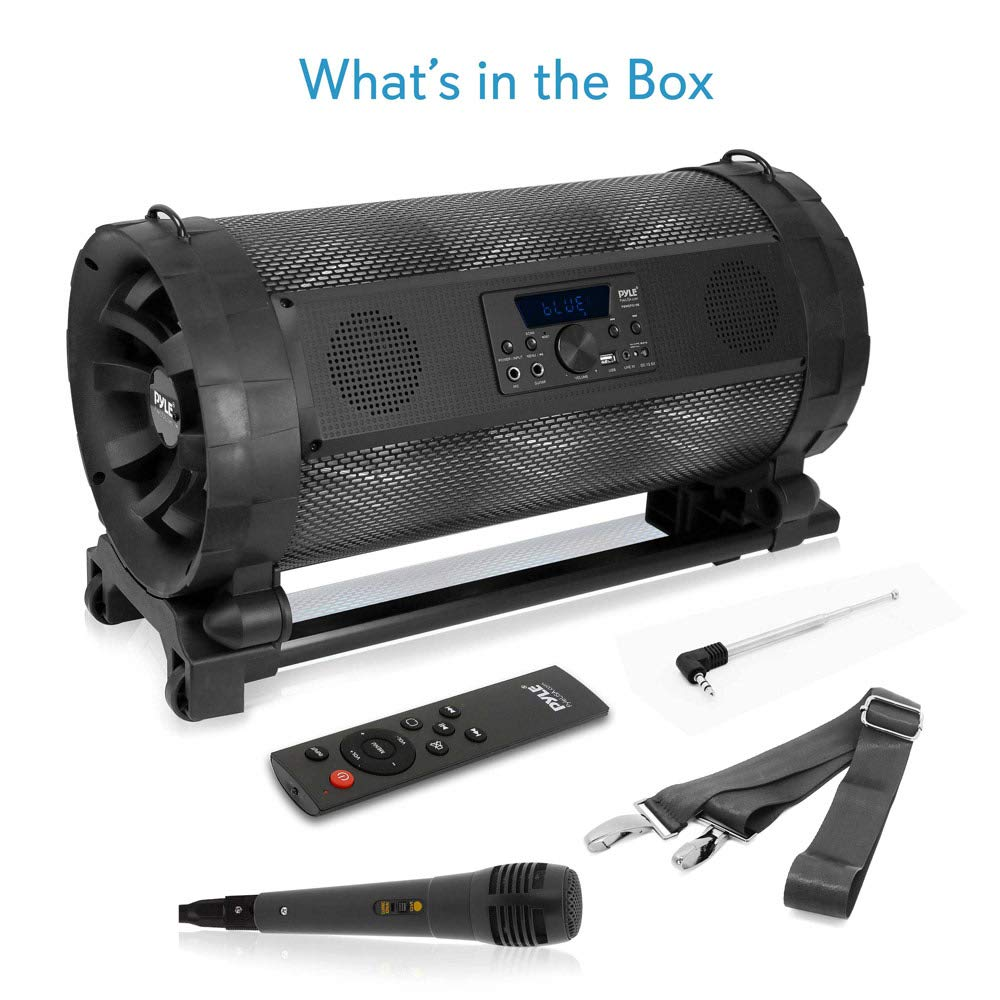 Portable Bluetooth Boombox Stereo System - 600 W Digital Outdoor Wireless Loud Speaker w/LED Lights, FM Radio, MP3 Player, USB, Wheels - Includes Karaoke Microphone, Remote Control - Pyle PBMSPG198 by Pyle (Image #7)