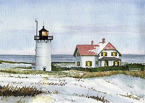 Race Point Lighthouse Provincetown Cape Cod Massachusetts Watercolor Art Prints (5x7) - Lighthouse Watercolor