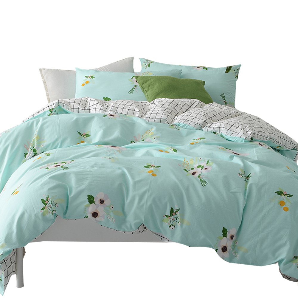 ORUSA Cotton Kids Flower Pattern Floral Summer Queen Full Size Bedding Sets with Pillow Sham for Girls Child Reversible Plaid Bedding Duvet Cover Set Aqua White, Style d