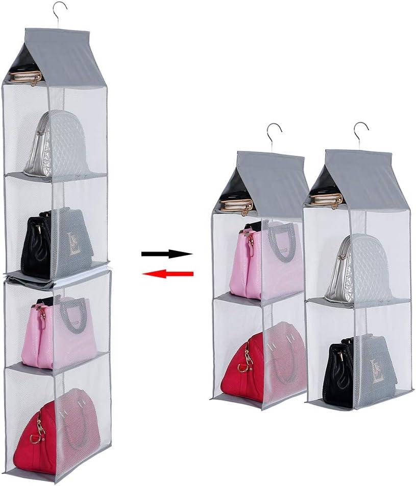 Keepjoy Detachable Hanging Handbag Organizer Purse Bag Collection Storage Holder Wardrobe Closet Space Saving Organizers System(Grey)