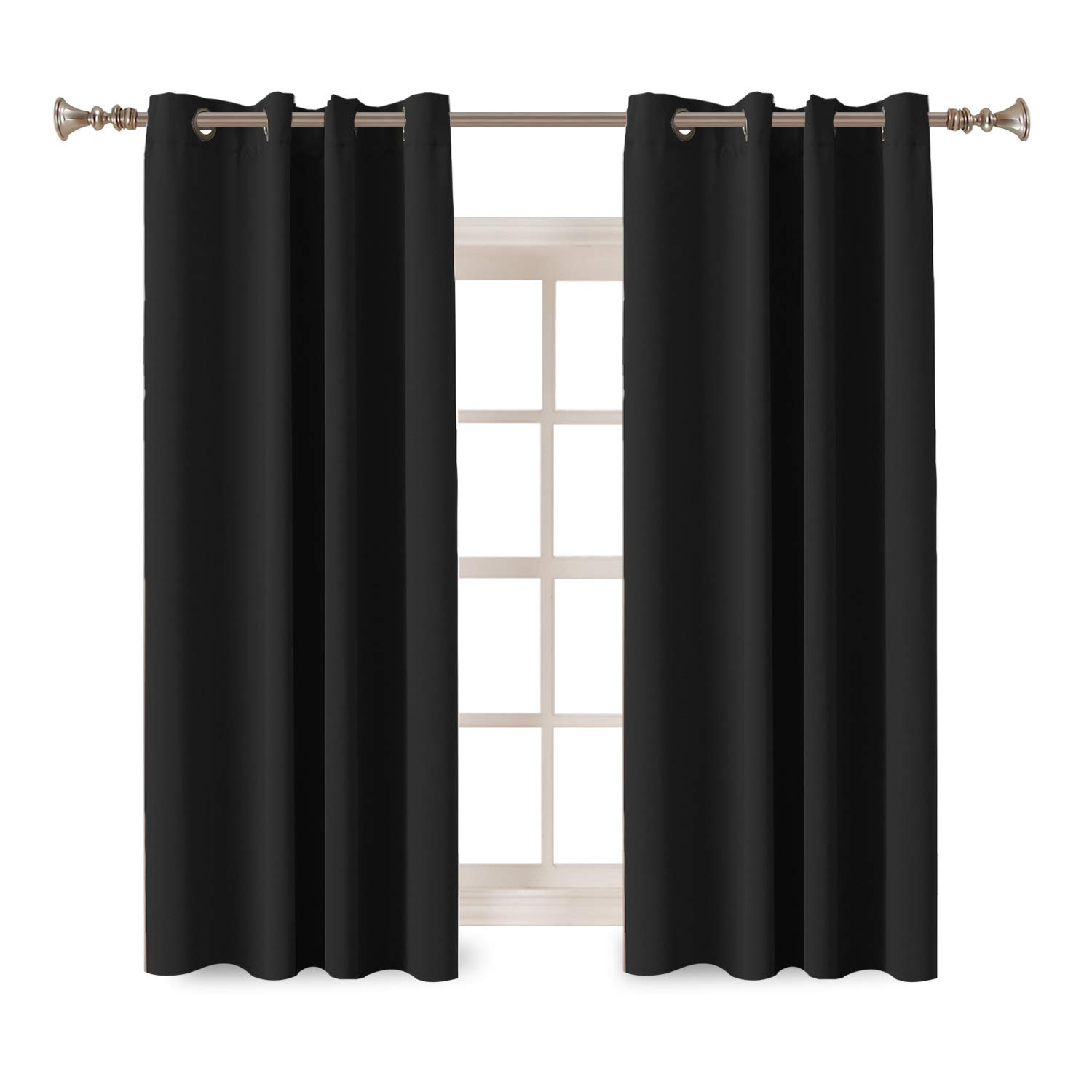 Turquoize Room Darkening Thermal Insulated Blackout Grommet Window Curtain for Living Room, Black,52x63-inch,2 Panel
