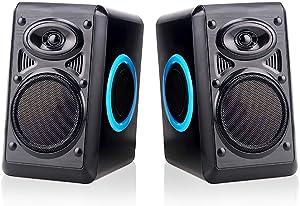 Computer Speakers for Desktop/Laptop/Mac, USB Powered PC Speaker, 2.0 Channel Stereo Multimedia Speaker for TV, Notebook, Built-in Diaphragm,3w3w Horn and in-Line Volume Control TOMOT FT-165