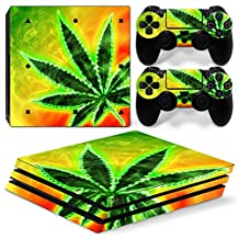 Ps4 PRO Playstation 4 Console Skin Decal Sticker Weed Marijuana + 2 Controller Skins Set (PRO Only)