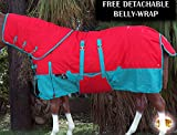 78'' HILASON 1200D WATERPROOF WINTER HORSE BLANKET NECKCOVER BELLY WRAP TURQUOISE