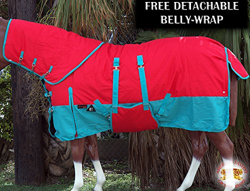 78'' HILASON 1200D WATERPROOF WINTER HORSE BLANKET NECKCOVER BELLY WRAP TURQUOISE by HILASON
