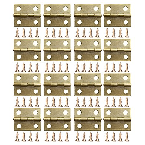 Small Box Hinges - Coobey 60 Pieces Mini Hinges for Cabinets Connectors with 240 Pieces 7mm Replacement Brass Hinge Screws