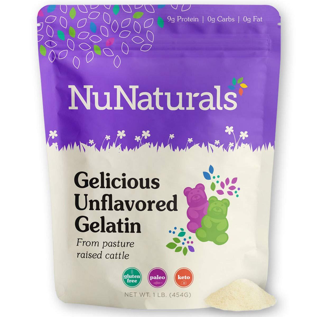 NuNaturals Premium Unflavored Beef Gelatin Powder, 1 Pound, Unflavored