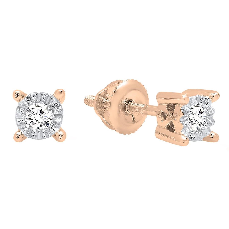 0.10 Carat (ctw) 14K Gold Round White Diamond Ladies Stud Earrings 1/10 CT