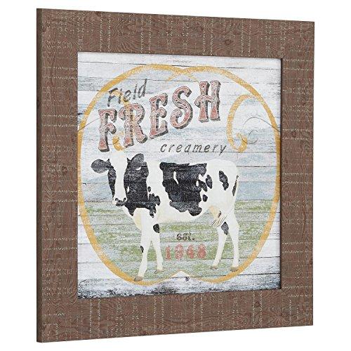 Vintage Country Farm Supply Cow Print, Warm Grey Barnwood Frame, 21 x 21