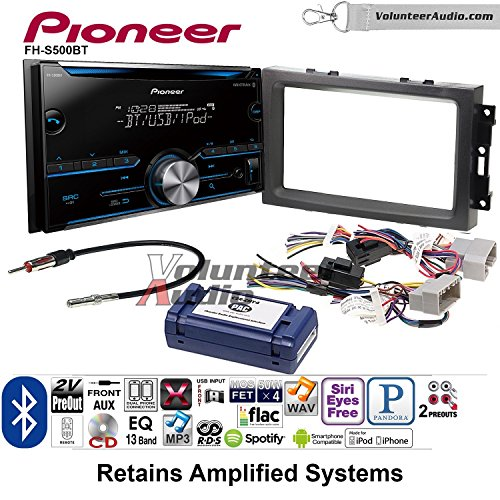 Volunteer Audio Pioneer FH-S500BT Double Din Radio Install Kit with CD Player Bluetooth Fits 2007-2008 Ram, 2006-2007 Chrysler 300 (Cd Dual Mix 2 Player)