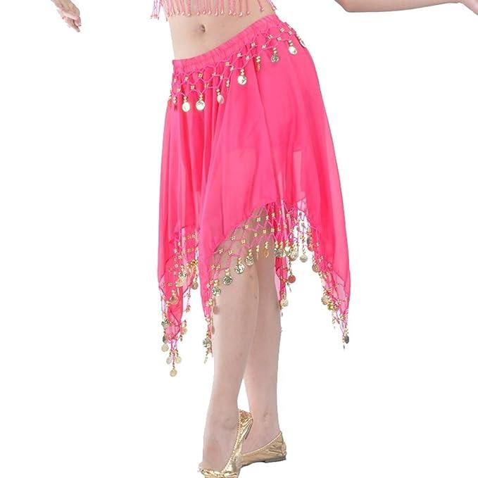 Falda de danza del vientre con monedas, gasa, faldas cortas para ...