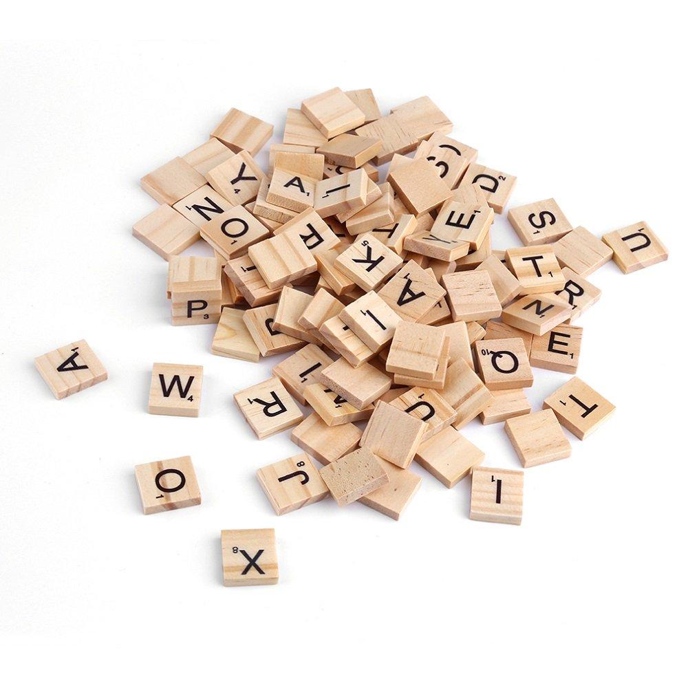 100Pcs Wooden Alphabet Scrabble Tiles Black Letters & Numbers For Crafts Wood Leosky