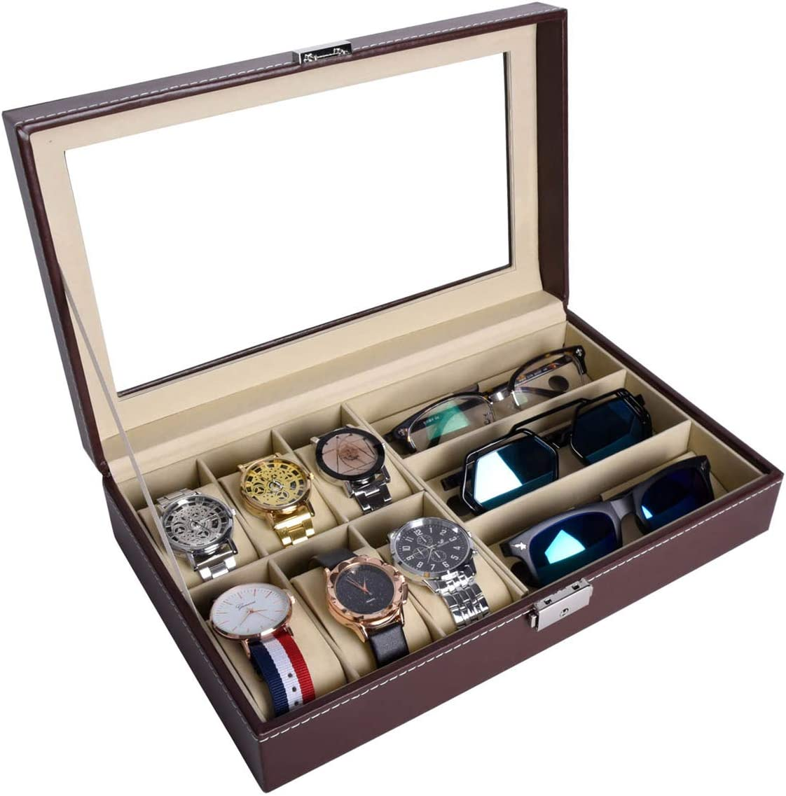 AUTOARK Leather 6 Watch Box Jewelry Case and 3 Piece Eyeglasses Storage and Sunglass Glasses Display Case Organizer,Brown,AW-020