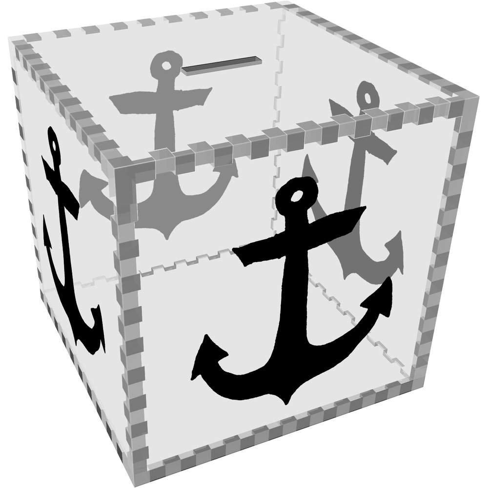 Large ' Ship Anchor 'クリアマネーボックス/貯金箱( mb00046578 ) B073PS3R8W