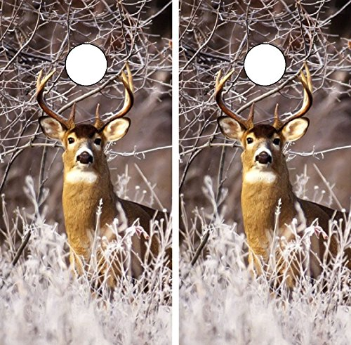 C233 Deer Hunting Buck CORNHOLE WRAP WRAPS LAMINATED Board Boards Decal Set Decals Vinyl Sticker Stickers Bean Bag Game Vinyl Graphic Tint Image