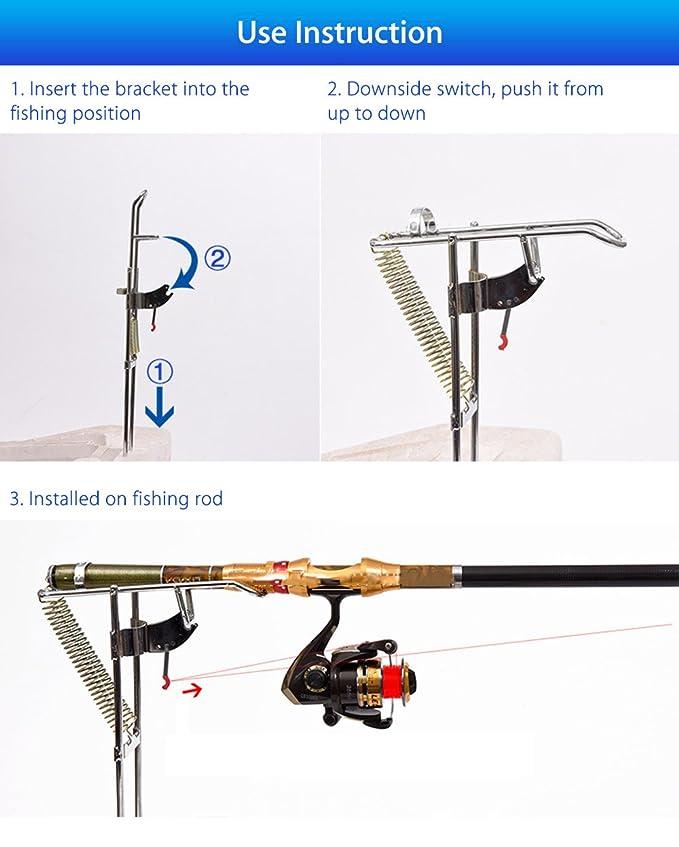 Wenquan,Tenedor de Acero Doble automático de la caña de Pescar del ...