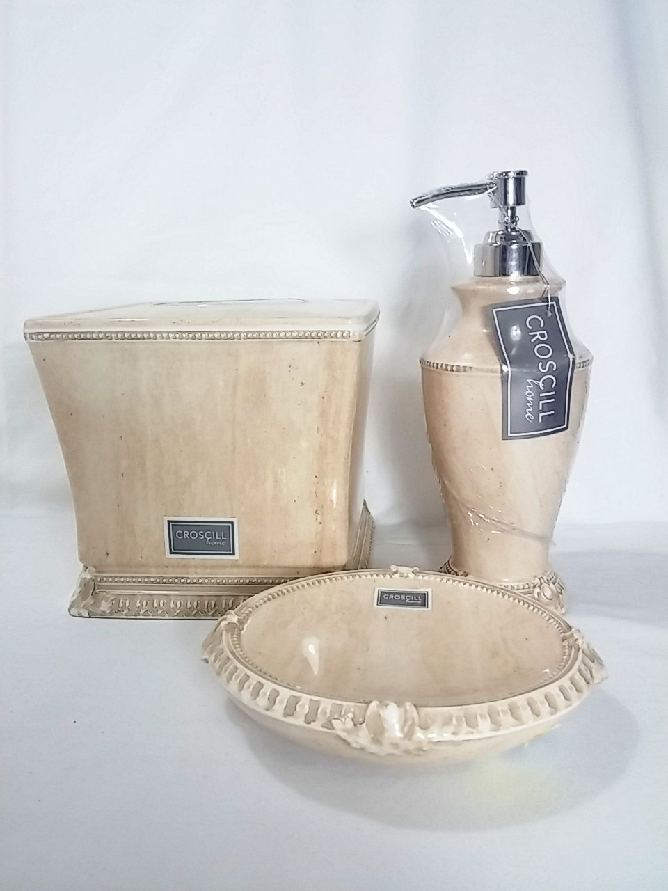 Amazon.com: Croscill Addis Vintage Marble Style Ceramic 3-piece Bath ...