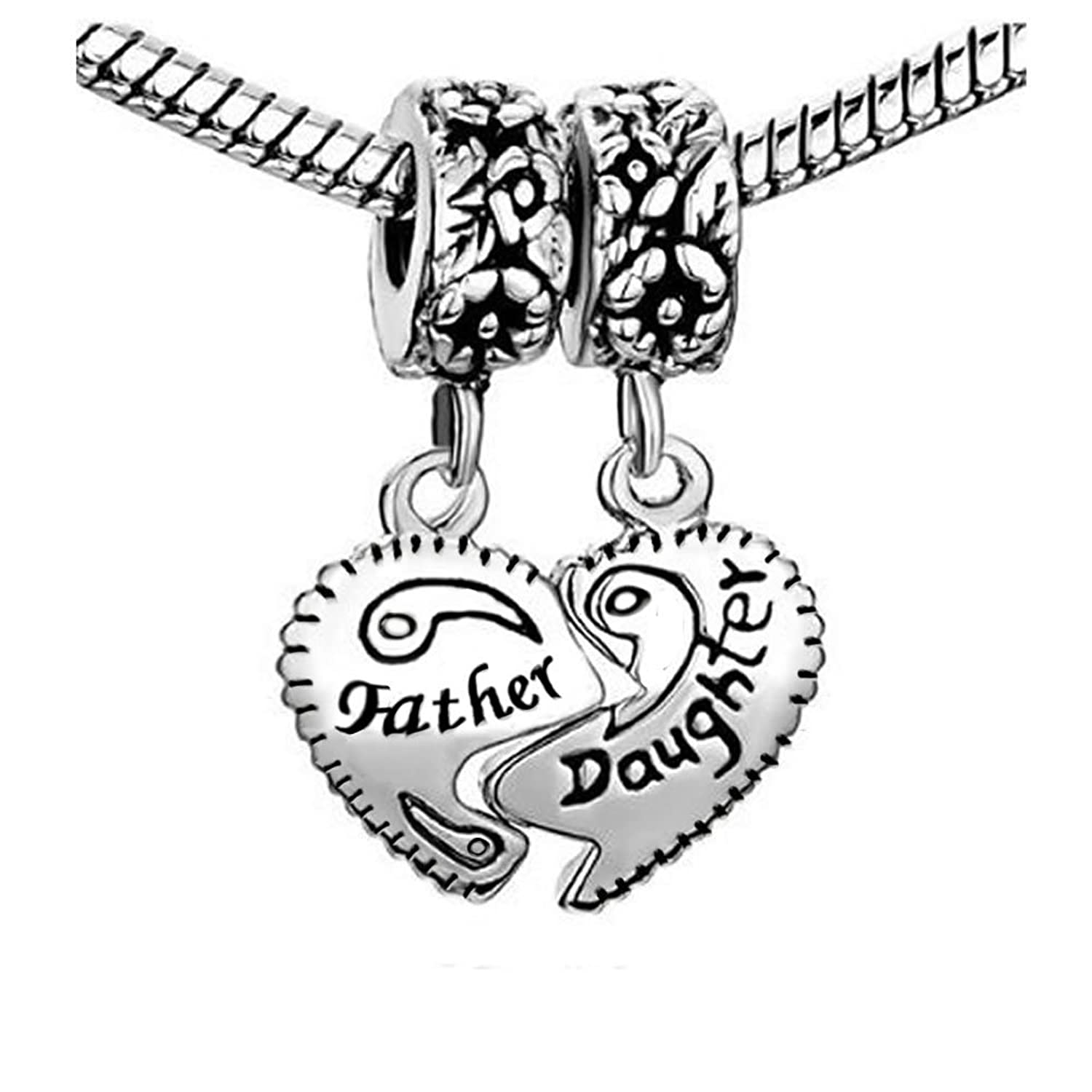Amazon 1 Pair Father Daughter Hearts Love Charm Fits All