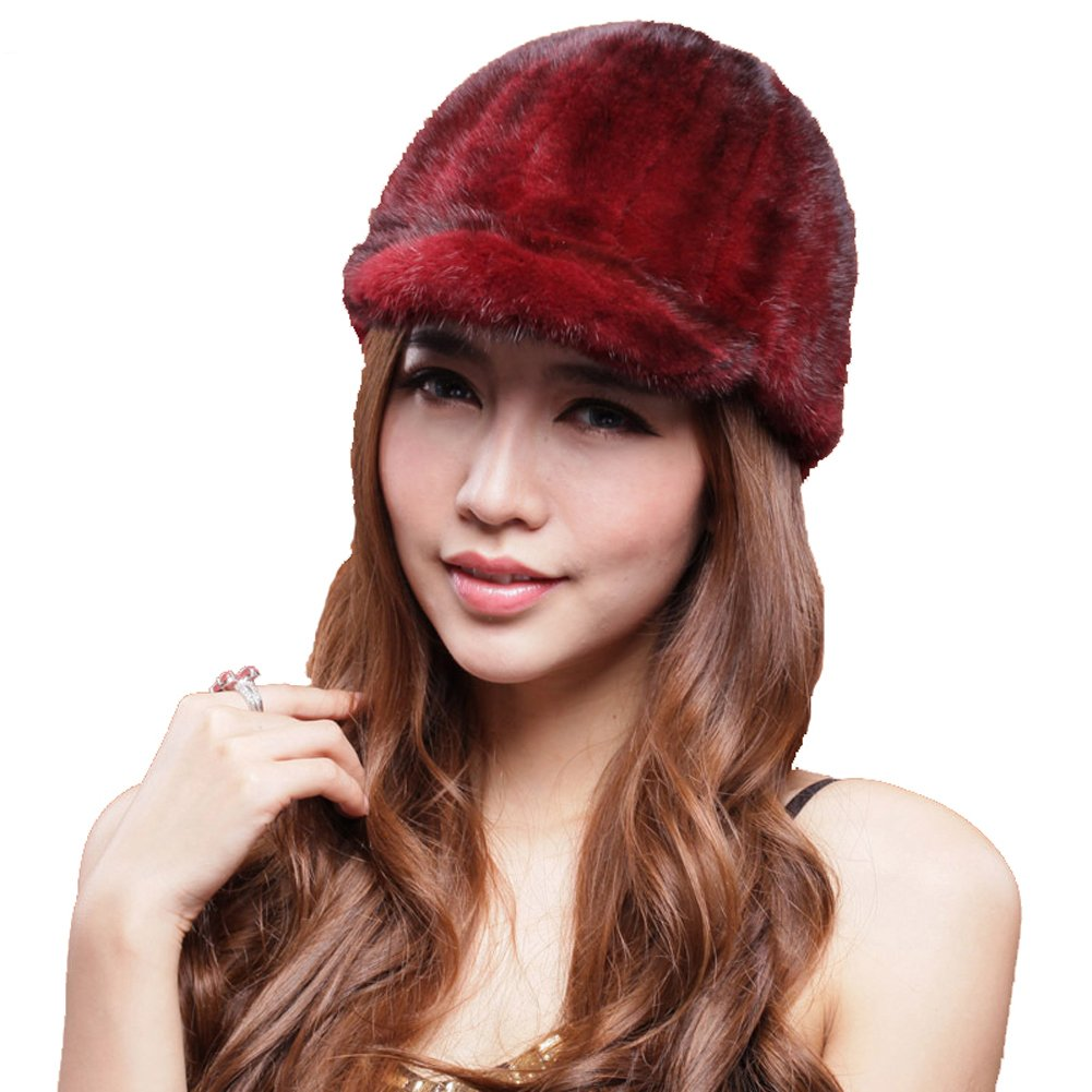 MINGXINTECH womens real mink fur peak cap winter outdoors warm casquette ladies hat by MINGXINTECH (Image #1)
