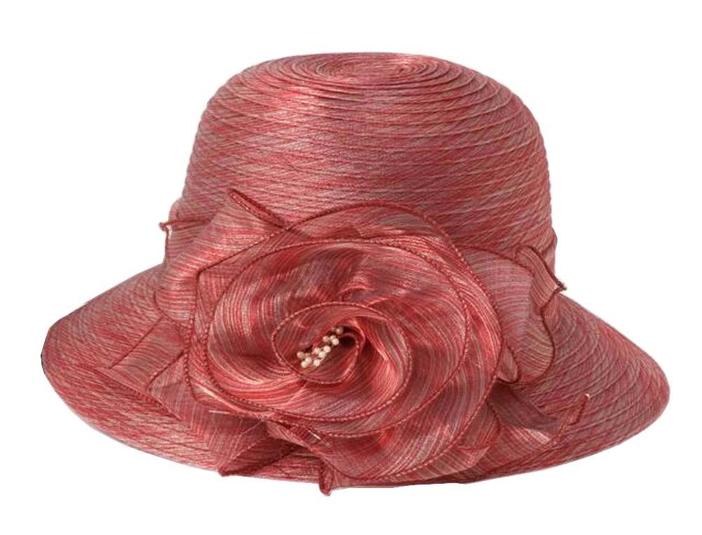 Lady折りたたみ式サンハットエレガントなオーガンジートップハットドレスハットビーチ帽子   B0716CCGX8